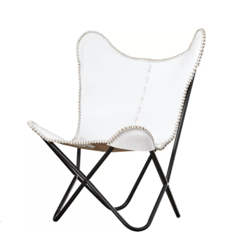 White Leather Butterfly Chair.png