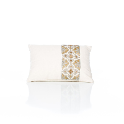Ivory and Gold Beaded Pillow