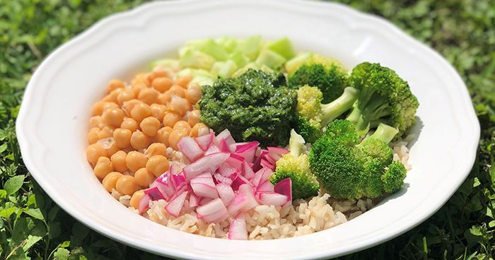 Pesto Brown Rice Bowl