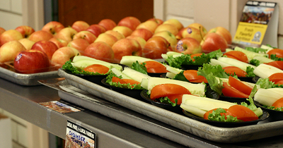 Food Day at Andrews Elementary - salad and apples