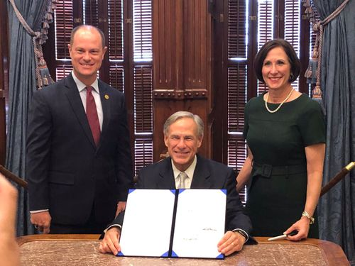 Rep. Cyrier with Gov. Abbott and Sen. Kolkhorst at the signing of SB 26 and SJR 24, which places Prop. 5 on the ballot to stop the diversion of funds from state parks and historical sites.