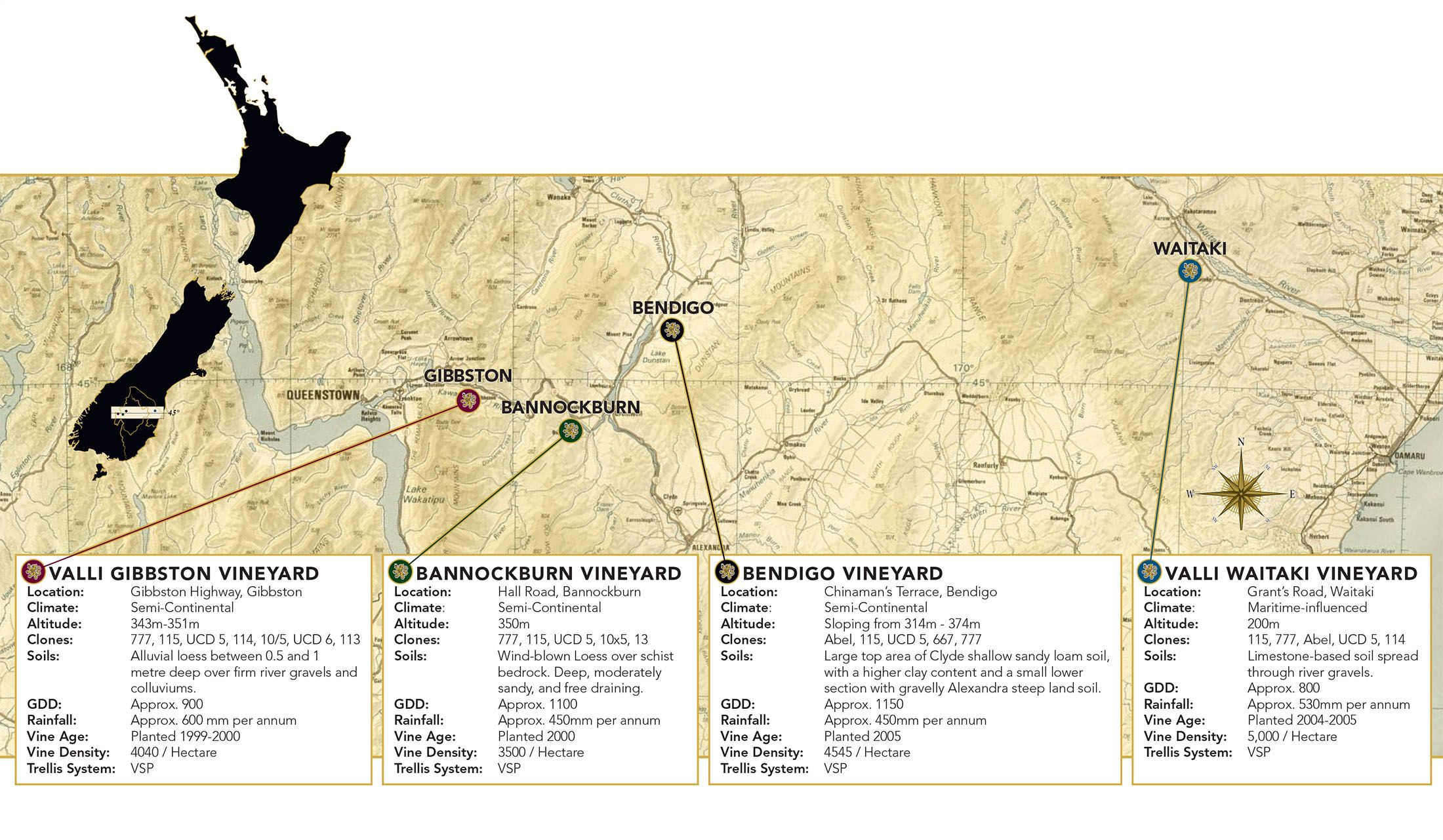 Valli Otago Vineyard Map
