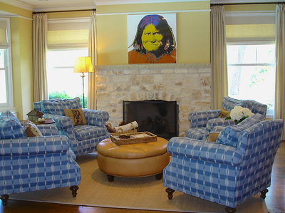 Traditional interior design - Houston - blue plaid upholstery