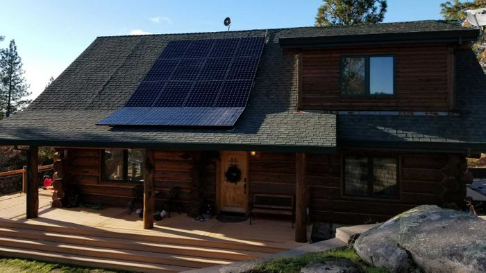 Solar Panels Log Cabin