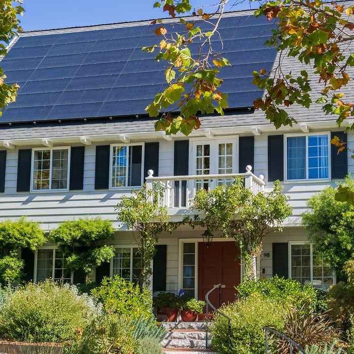 a home with lots of trees and solar panels