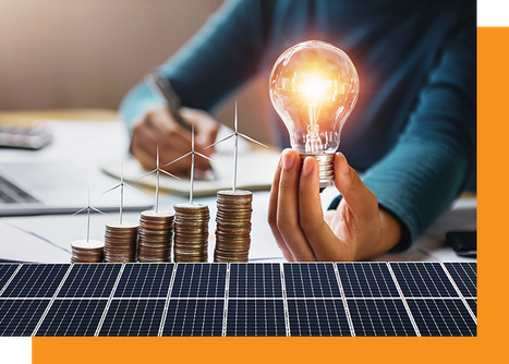 Woman holding a lightbulb over solar panels with a stack of coins.