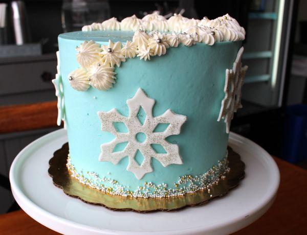 Custom Sour Cream Cake with Snowflake Design