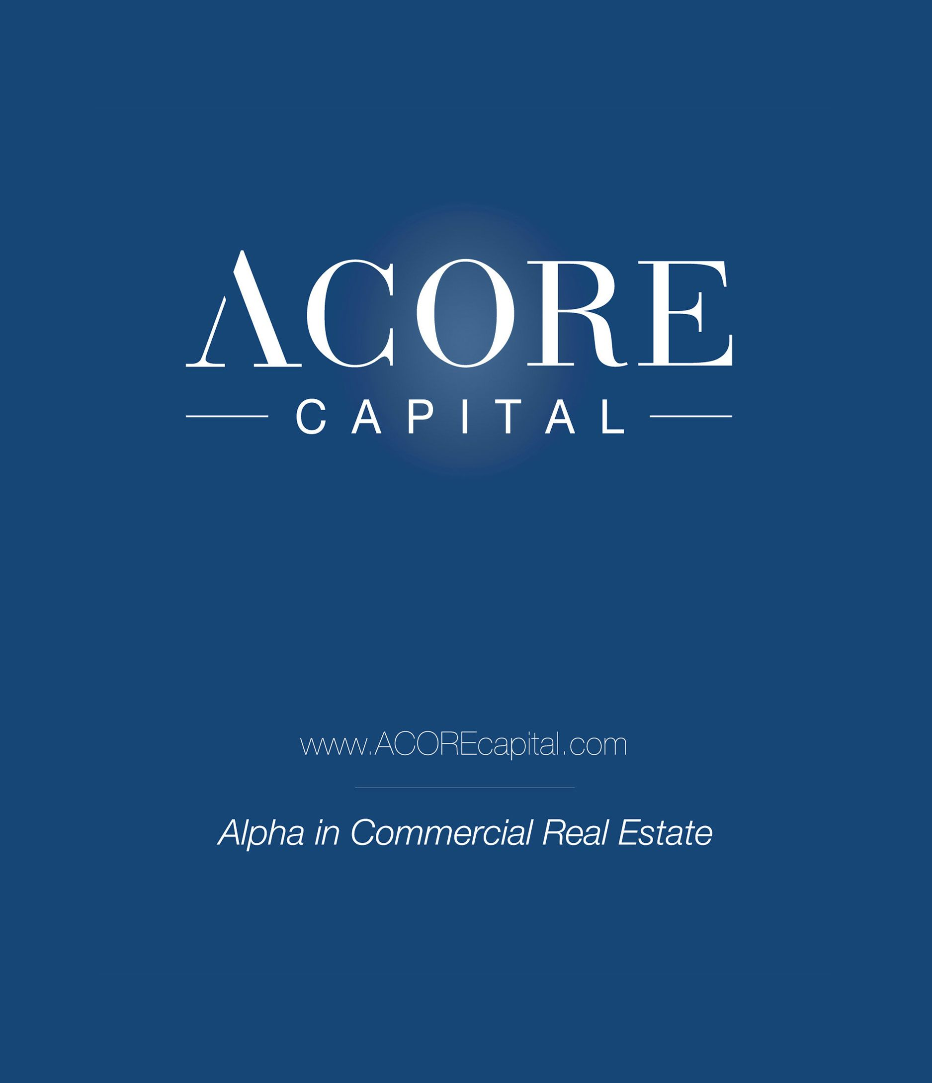 "The ACORE Capital logo on a blue background with the tagline ""Alpha in Commercial Real Estate"""