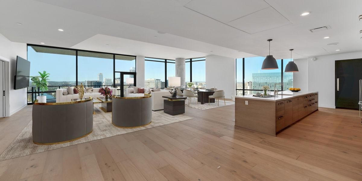 Interior view of luxury penthouse condo for sale at 70 Rainey in downtown Austin, TX