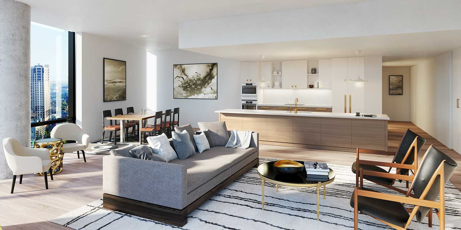 Unit in 70 Rainey featuring hardwood floors, minimalist furniture, and a view of downtown Austin