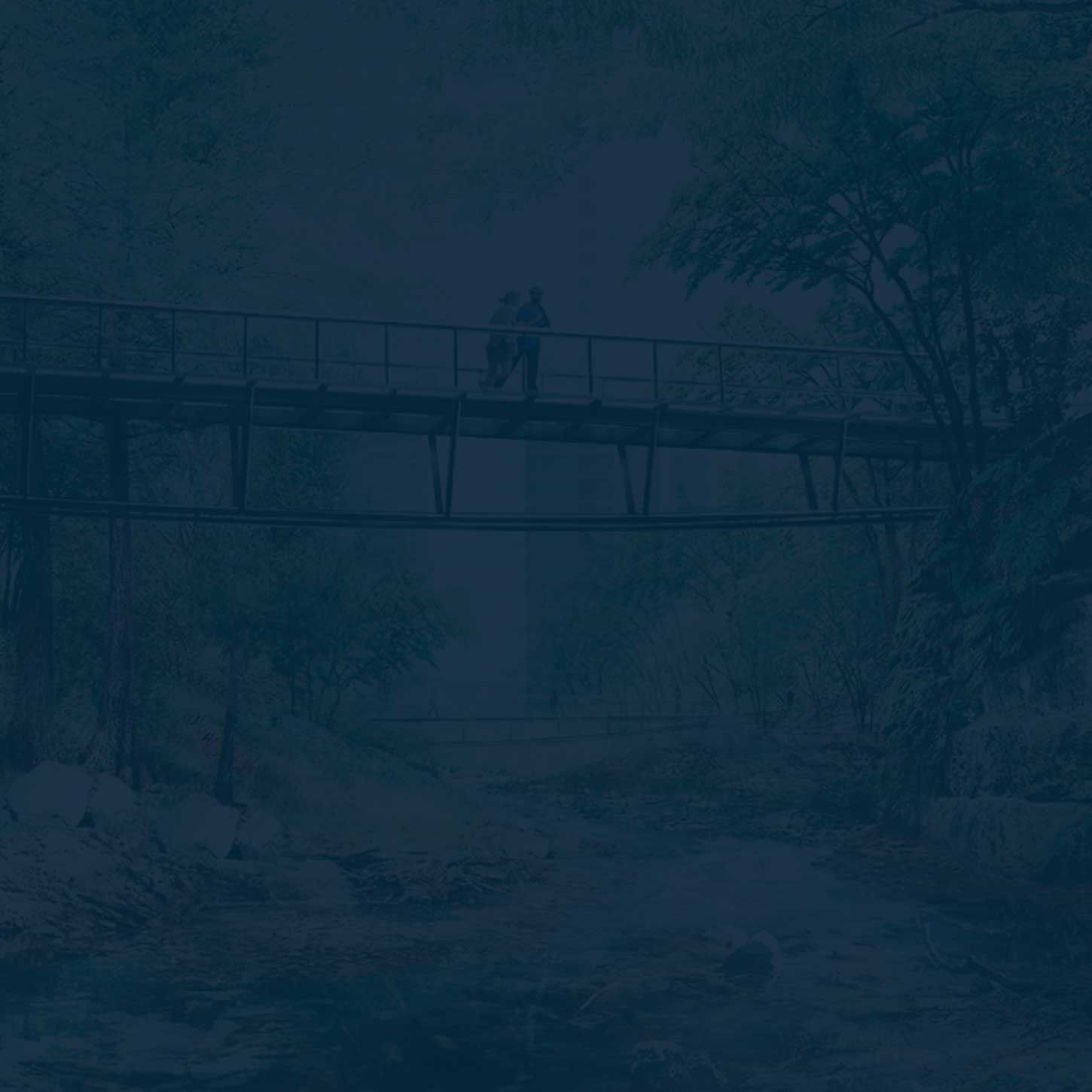An image of a couple on the Waller Creek path near 70 Rainey with a dark blue tint