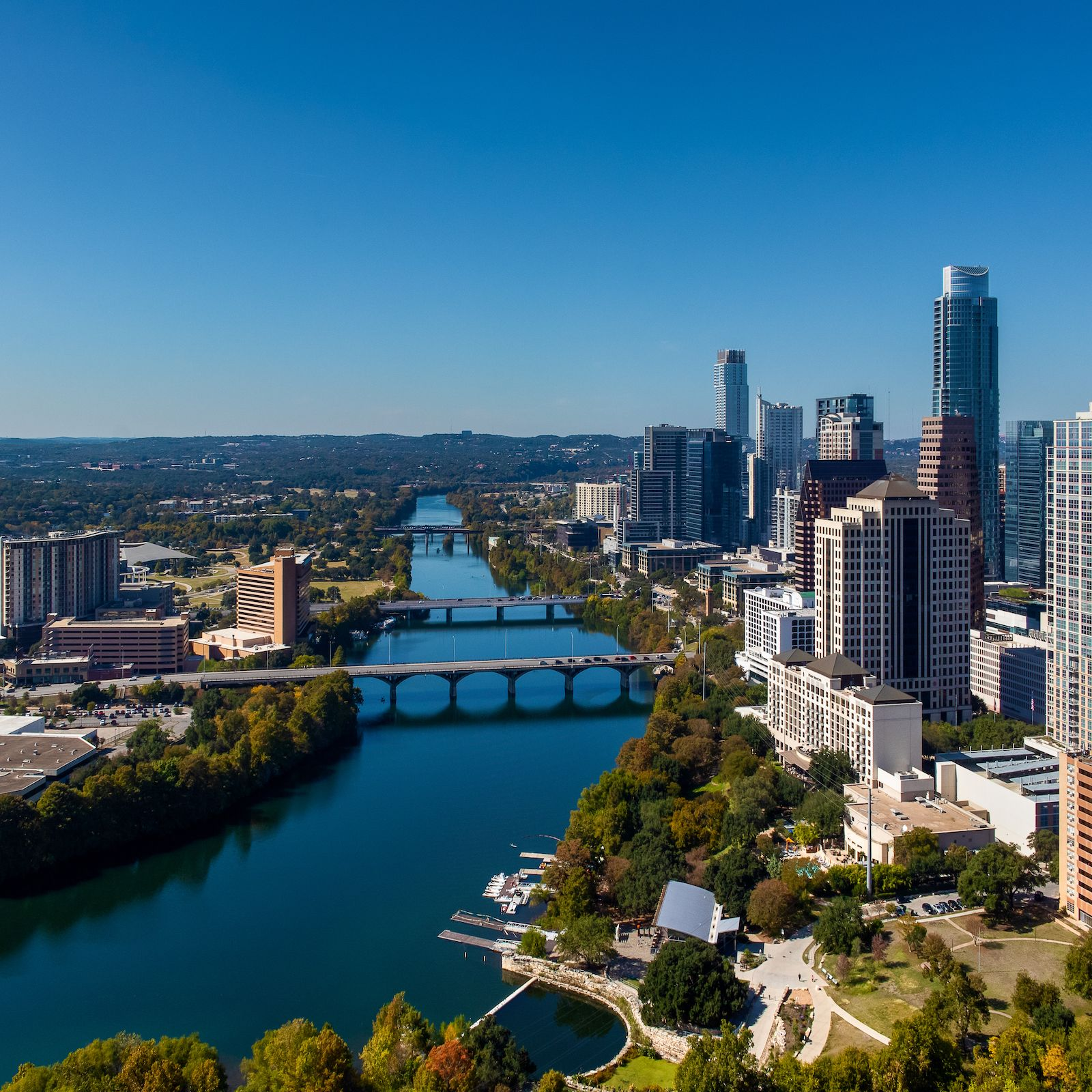 Birds-eye view of downtown Austin, TX from the perspective of 70 Rainey's luxury condos