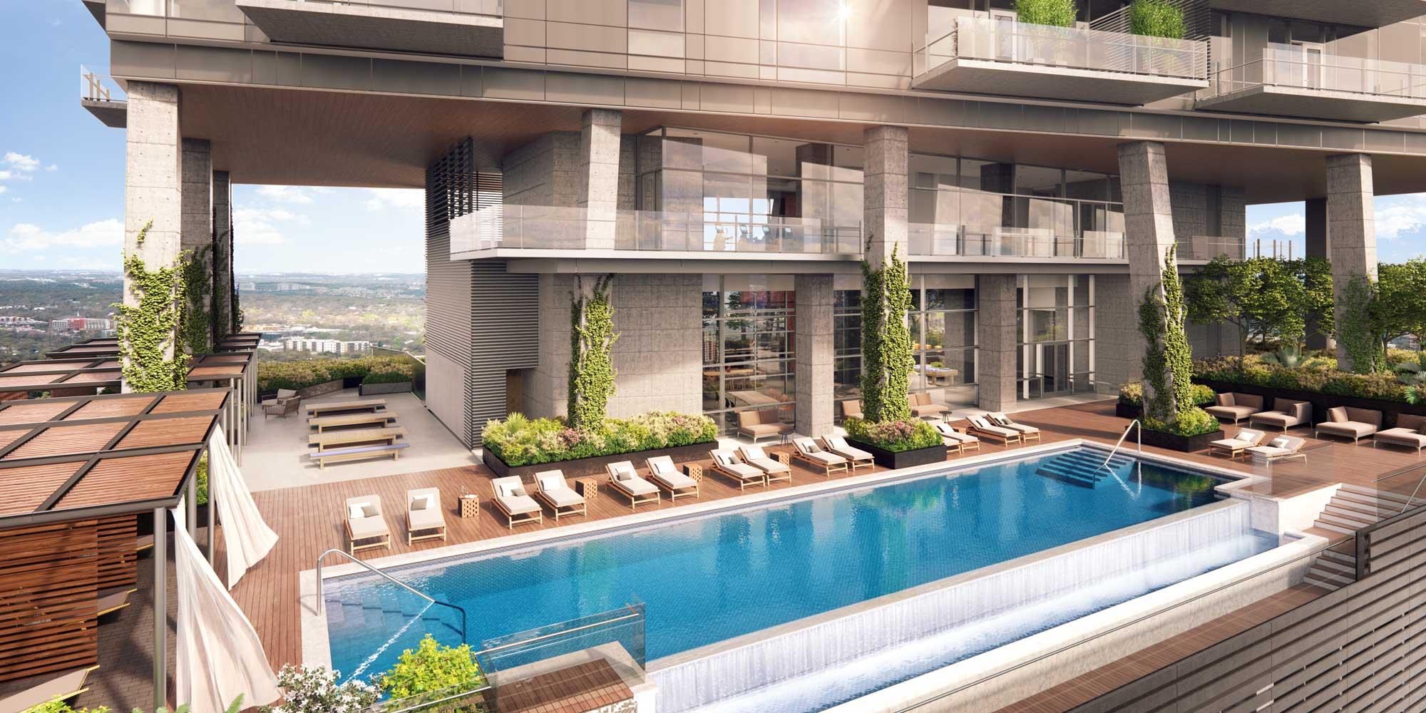 Sundeck Featuring Infinity Edge Pool & Cabanas