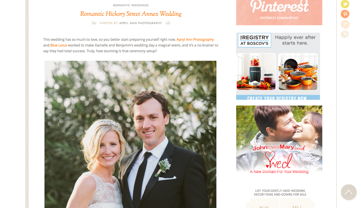 Ruffled: Romantic Hickory St. Annex Wedding