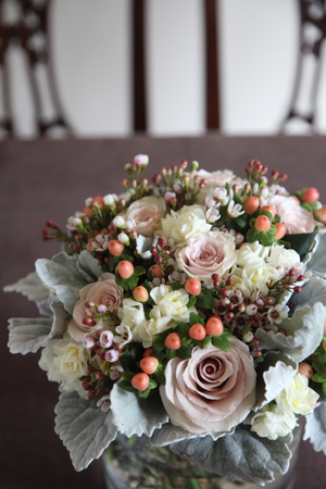 rose & dusty miller bouquet
