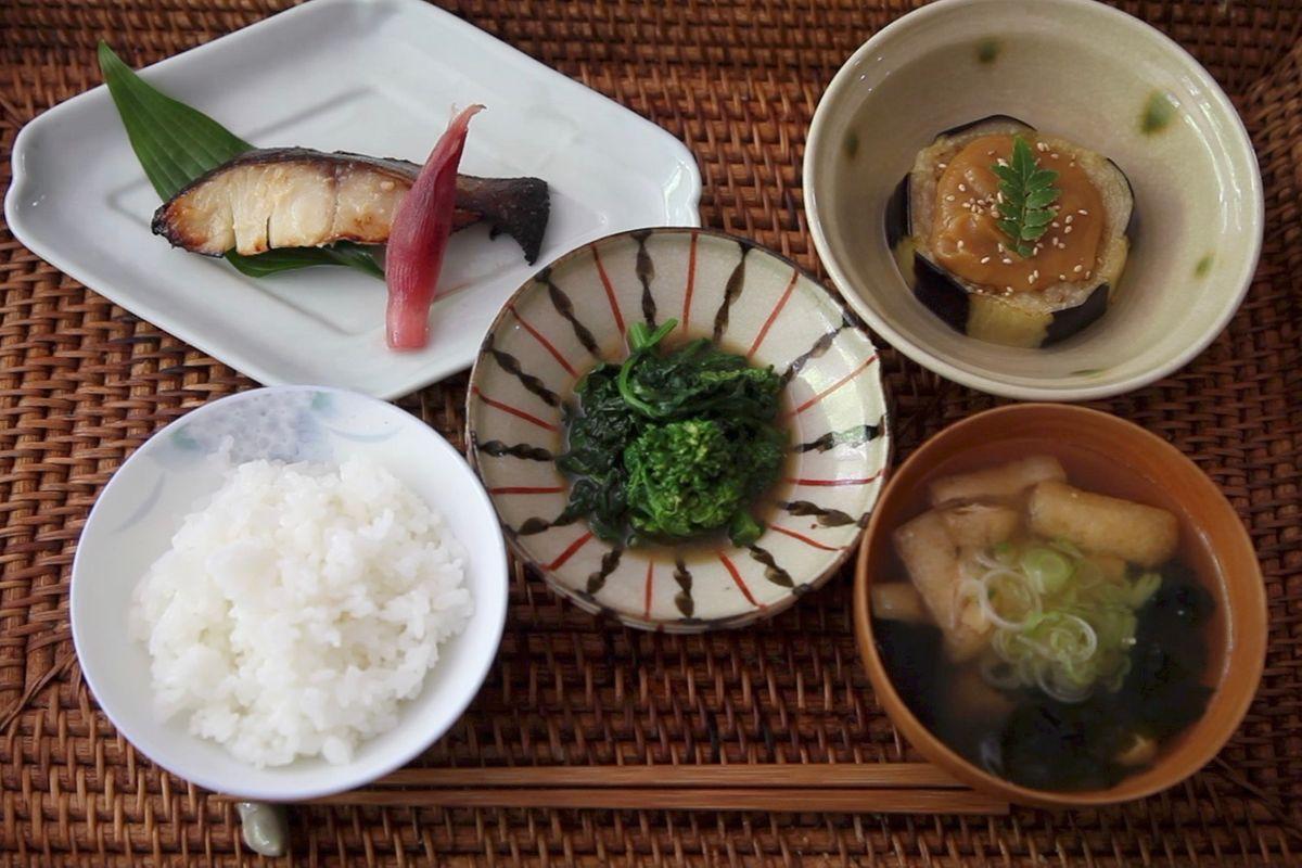 Sakekasu Marinated Black Cod | Eggplant with Dengaku Miso | Broccoli Rabe with Mustard Dashi.jpg