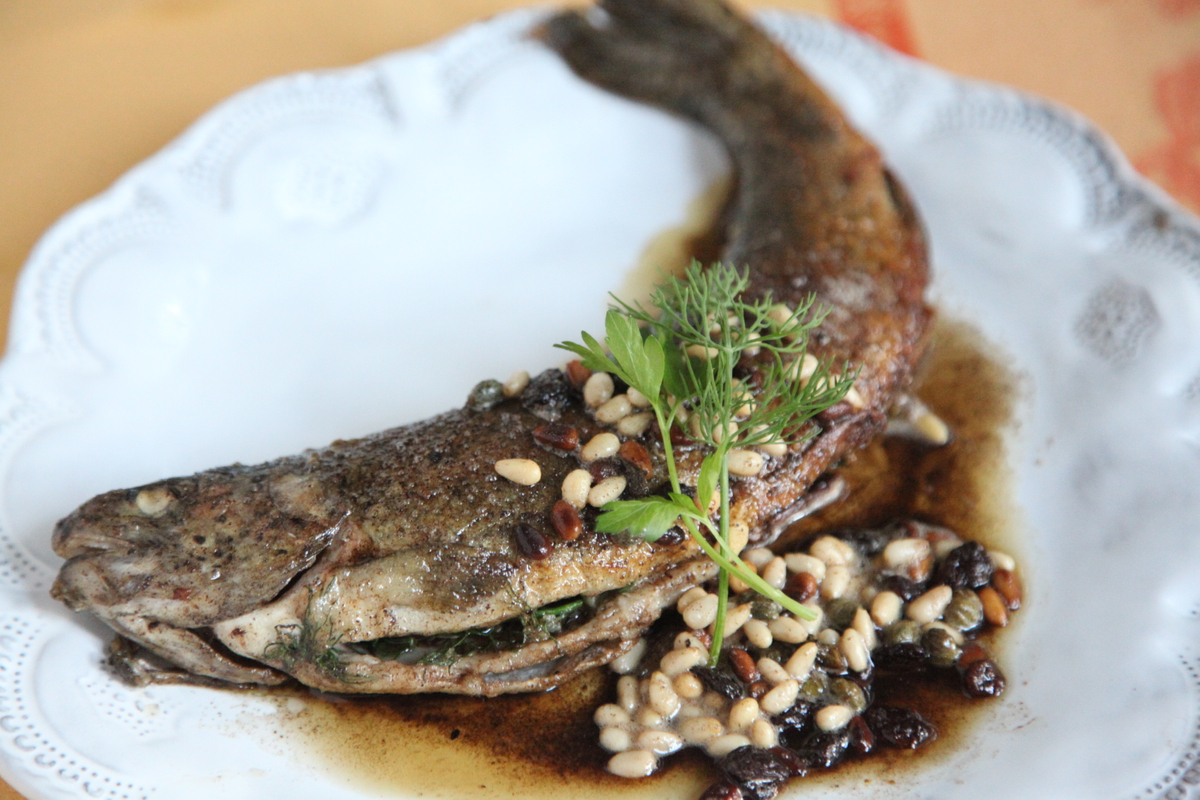 Pan Fried Trout with Caper & Pine Nuts