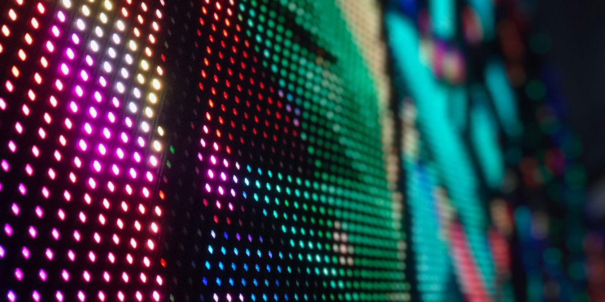 Close up of a colorful LED wall display