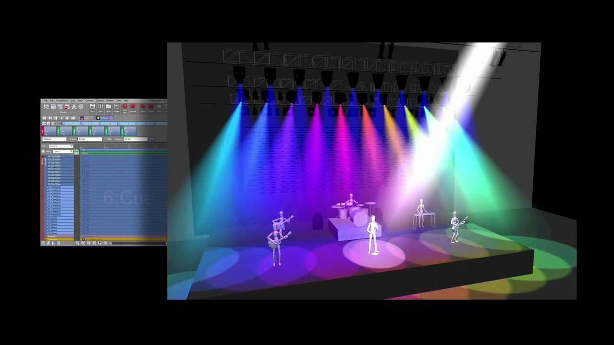 Mock up of a lighting design for a concert with a rainbow stage wash