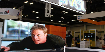LED Display at a Trade Show Booth