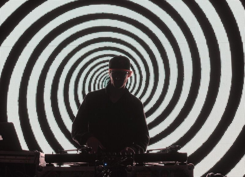 DJ in front of an LED video wall