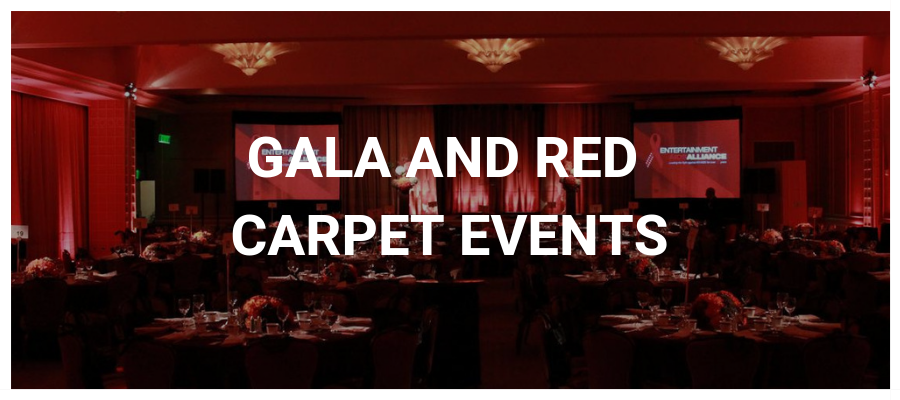 Gala and Red Carpet Events Button with a gala with red lighting in the background