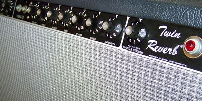 Close up of a twin reverb Fender Amp
