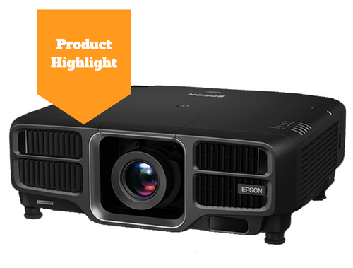 Product Highlight image with a stock photo of an Epson laser projector