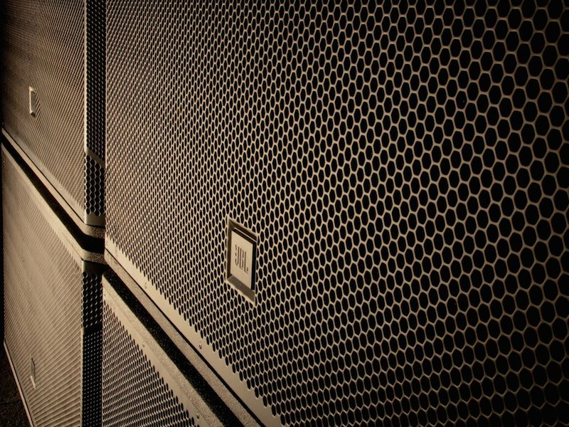 A close up of a JBL Speaker