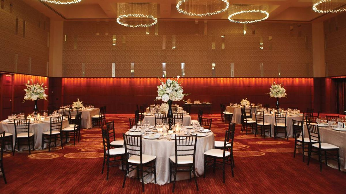 The Four Seasons Ballroom set up for a wedding