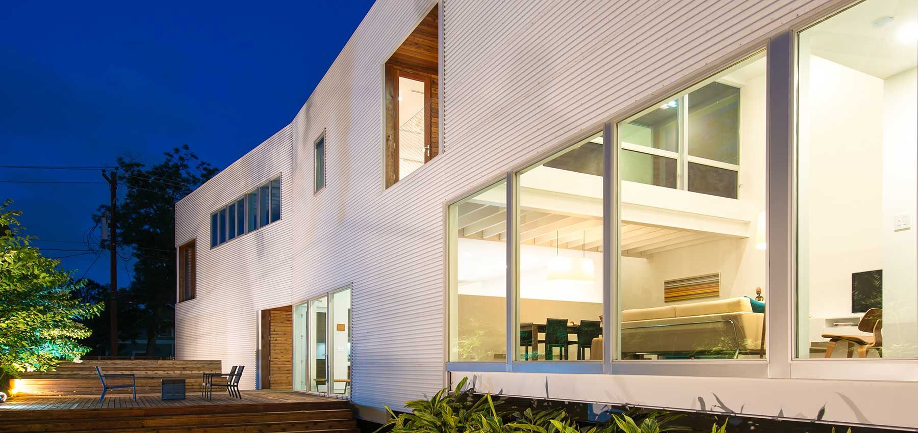 perforated house at night