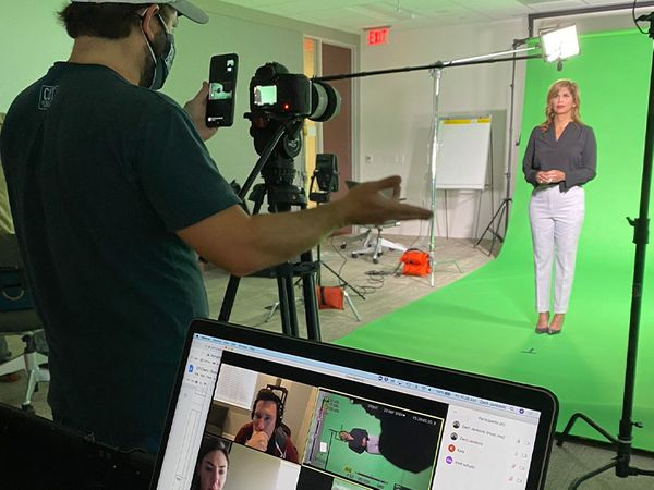Filming on a green screen