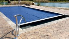 automatic pool cover, designer handrail
