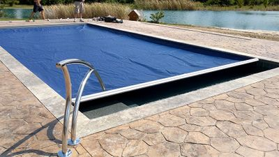 automatic pool cover designer handrail