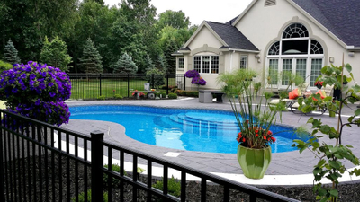 new vinyl swimming pool, custom entry