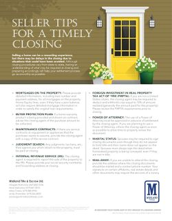 Tips for a Timely Closing for the Seller