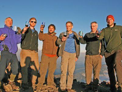 Hikers toast with wine on Agua Volcano.jpg