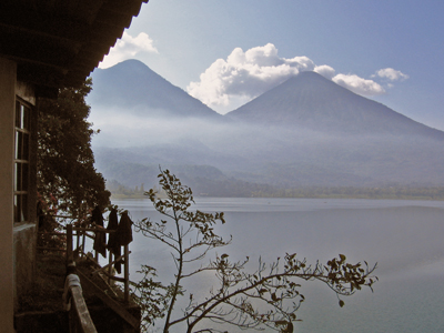 Patio view of Volcanoes Atitlan and Toliman in Guatemala.jpg