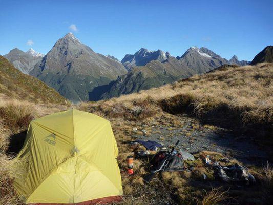 hunting campsite in Fiordland