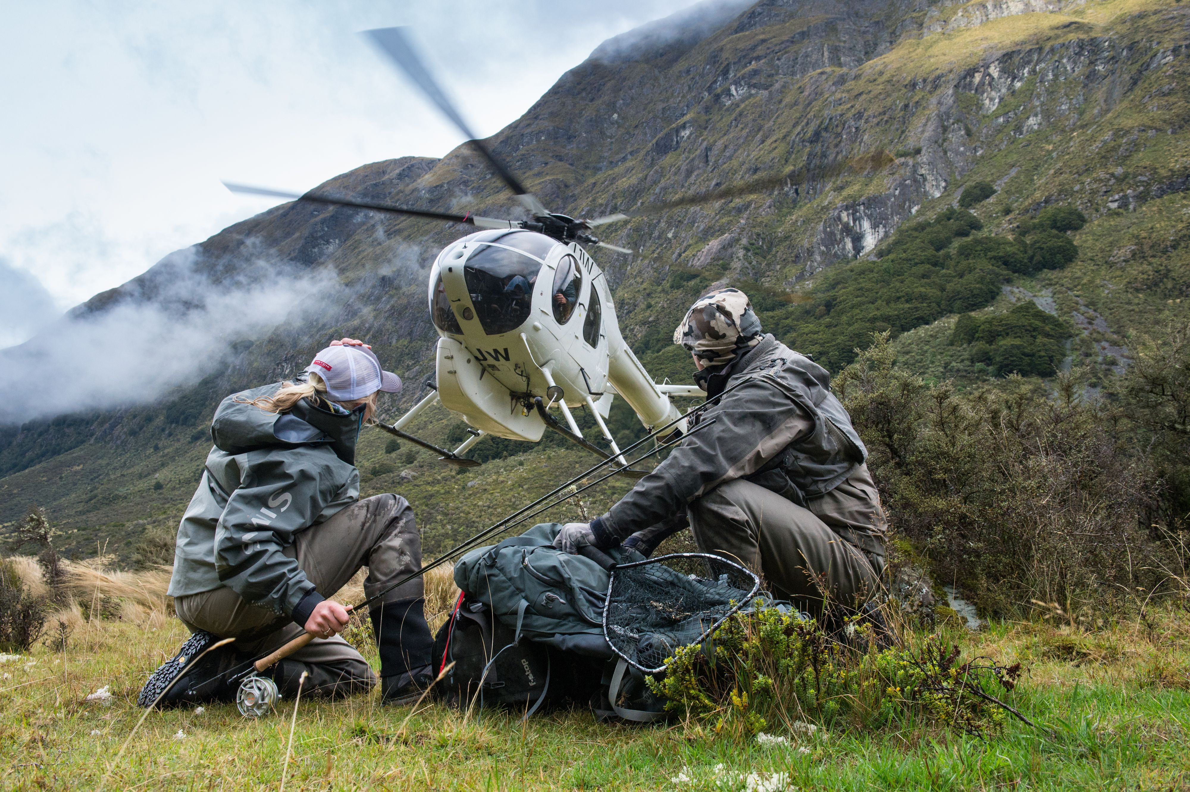Guided trips for hunting and fishing with a helicopter