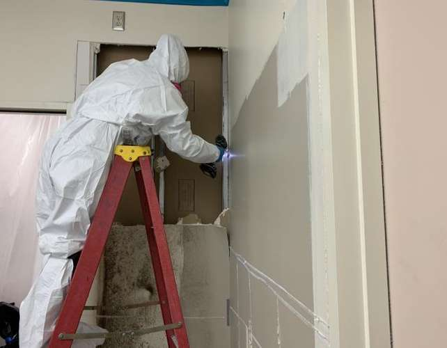 Cotton GDS commercial disaster solutions team removing mold damage in Odessa, TX