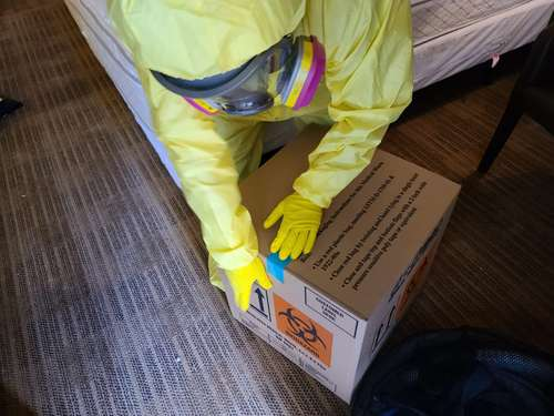 Cotton GDS commercial disaster solutions team doing hazardous waste cleanup and disposal