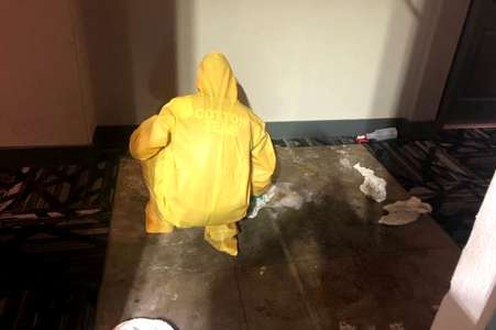 Cotton GDS team doing commercial disaster scene and biohazard cleanup