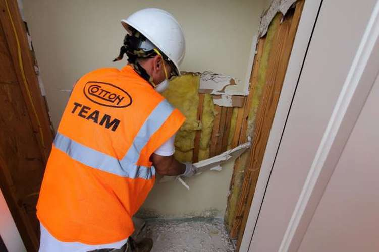 Cotton GDS clearing wall damage in Lake Charles, LA