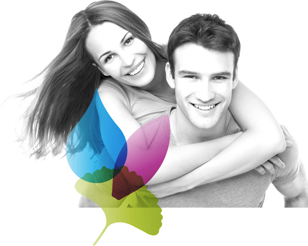 Smiling young couple with the Well Within logo