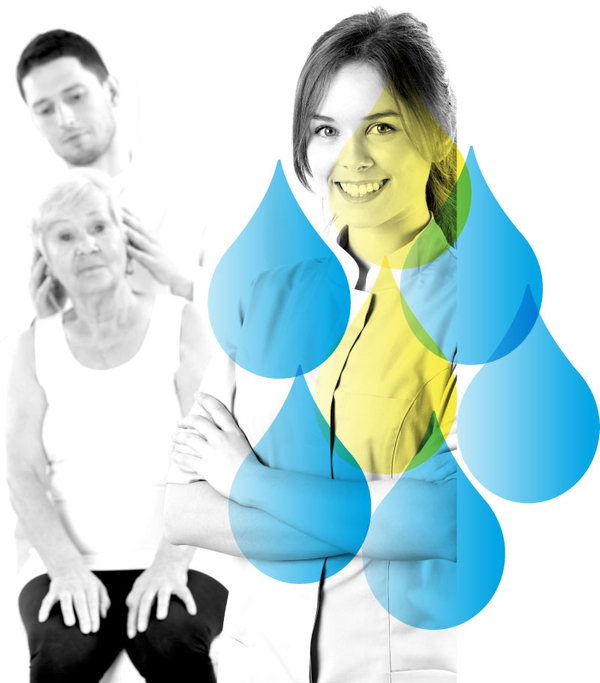 Male Practitioner Palpating an Elderly Woman's Head in Background And Young Female Practitioner Smiling in Foreground with Water Drop Accents from Well Within Logo