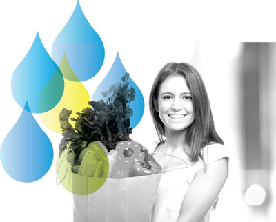 Smiling Woman Carrying Grocery Bag Filled with Produce and Water Drops Accent from Well Within Logo