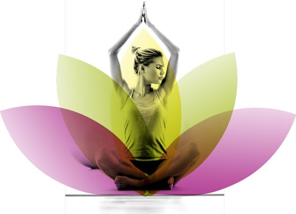 Woman Sitting in Lotus Pose with Lotus Flower Accent from Well Within Logo