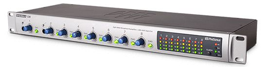 The PreSonus DigiMax DP88 Microphone Preamp is available at Hollywood Sound Systems.
