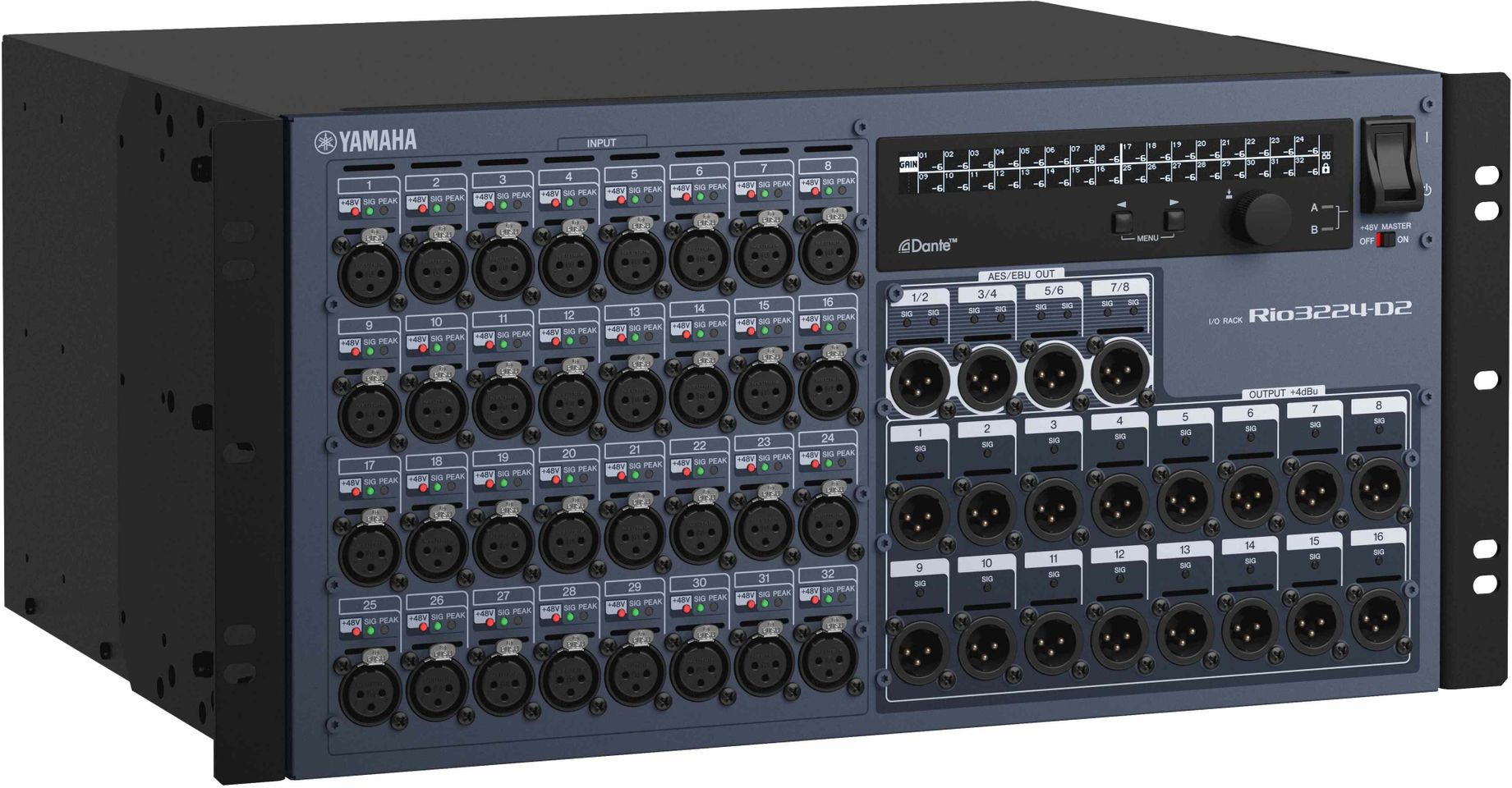 Yamaha's RIO3224-D2 Dante Stagebox is at Hollywood Sound Systems.